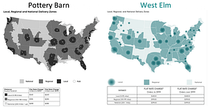 West Elm and Pottery Barn Flat Rate Shipping Rates Map