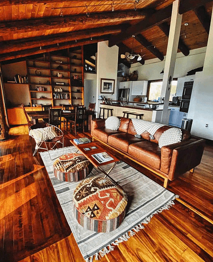 living room with mountain views